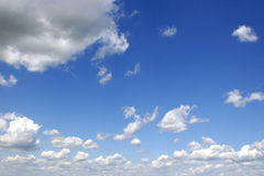 Cloudy sky. Clouds and blue sky ahead. Sunny summer day Stock Images