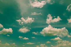 Cloudy sky with cross process flltered. Royalty Free Stock Photography