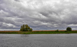 Cloudy sky. In Danube Delta, Romania Royalty Free Stock Images