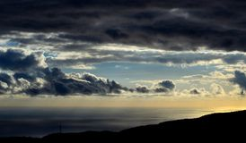 Cloudy sky at dawn on the sea. Cloudy sky on the sea at dawn Stock Image