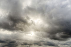 Cloudy Sky 1. Dramatic sky with lightbeams shining through clouds Stock Photo