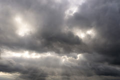 Cloudy Sky 2. Dramatic sky with lightbeams shining through clouds Stock Image