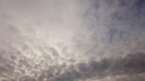 Cloudy sky with gray altostratus clouds crossing with nimbostratus clouds. Time lapse of the cloudy sky with gray altostratus clouds crossing with amorphous and stock video