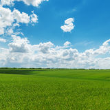 Cloudy sky and green field Royalty Free Stock Photography