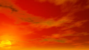 Cloudy Sky Illustration with setting sun Stock Photo