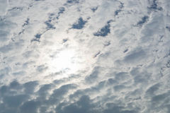 Cloudy sky. Look up to isolated cloudy sky in daylight Stock Photos