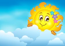 Cloudy sky with lurking sun 7. Eps10 vector illustration Stock Photo