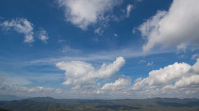 Cloudy sky. With mountain view Royalty Free Stock Photo