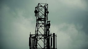 Cloudy sky with network tower stock footage