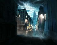 Cloudy sky in the night of an abandoned city stock illustration