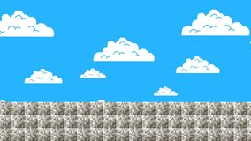 Cloudy Sky in Old Video Game Level Style vector illustration