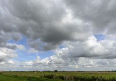 Cloudy sky over Belgian plains near Oostende Royalty Free Stock Photography