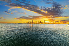 Cloudy sky over downtown San Diego at sunset. California stock images