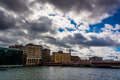 Cloudy sky over Fort Point Channel and old buildings in Boston Royalty Free Stock Photography