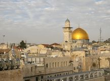Cloudy sky over Golden Dome of The Rock on the Temple Mount in the Old City of Jerusalem royalty free stock images
