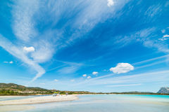 Cloudy sky over Lu Impostu beach Stock Image