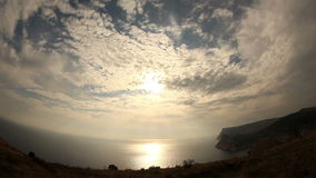 Cloudy sky over the mountains and the sea. Balaklava, Crimea, Ukraine stock footage