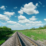 Cloudy sky over railroad Royalty Free Stock Photos