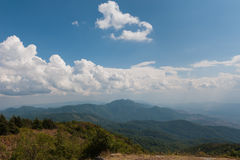 Cloudy sky. Over range of mountain Stock Images