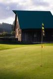 Cloudy Sky Over Rural Barn County Golf Course Stock Photo