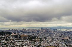 Cloudy sky over San Francisco Downtown Stock Image