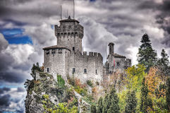 Cloudy sky over San Marino castle Royalty Free Stock Image