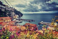 Cloudy sky over Sorrento coastline. Campania, Italy stock photos