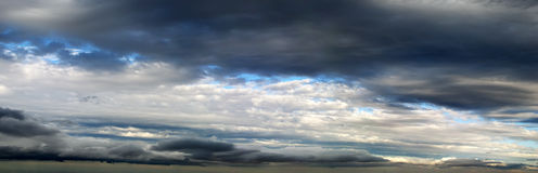 Cloudy Sky Panorama. Panorama of white and dark clouds and patches of blue sky Royalty Free Stock Photos