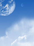 Cloudy sky with planet. And moon Stock Image