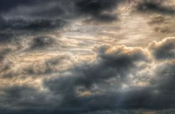 Cloudy sky. The cloudy sky before a rain a thunder and a thunder-storm over the Mediterranean Sea stock photography