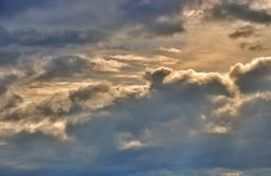 Cloudy sky. The cloudy sky before a rain a thunder and a thunder-storm over the Mediterranean Sea stock images