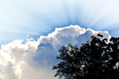 Cloudy sky with the rays of the sun Royalty Free Stock Photo