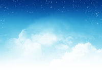 Cloudy sky with stars abstract background Royalty Free Stock Image