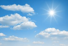 Cloudy sky and sun. Cloudy blue sky and sun Stock Photo