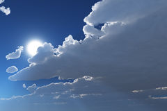 Cloudy sky with sun Royalty Free Stock Photos