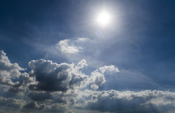 Cloudy sky. With the sun Stock Photo