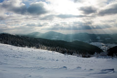Cloudy sky and sun beams winter forest in mountains Royalty Free Stock Photography