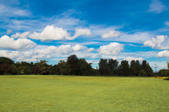 Cloudy sky on a sunny day. Clouds over a field on a sunny day Stock Photos