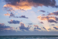Cloudy sky in sunrise, Dominican republic. Horizon over Atlantic ocean. Landscape with dramatic cloudy sky in sunrise, Dominican republic. Punta Cana. Bavaro Royalty Free Stock Photo