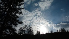 Cloudy sky at sunset in the Altai Mountains. stock video