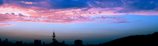 Cloudy sky at sunset. It is taken at sunset with city Silhouette in a beautiful evening  of July,Nanjing,China Royalty Free Stock Photo