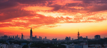Cloudy sky at sunset. It is taken at sunset with city Silhouette in a beautiful evening  of July,Nanjing,China Stock Image