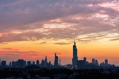 Cloudy sky at sunset. It is taken at sunset with city Silhouette in a beautiful evening  of July,Nanjing,China Royalty Free Stock Photography