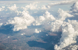 Cloudy sky. Taken form above while flying in a plane royalty free stock images