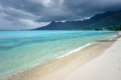Cloudy sky on Temae Beach lagoon in Moorea island Royalty Free Stock Photography