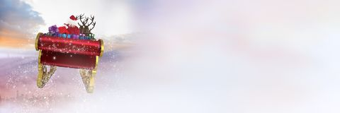 Free Cloudy Sky Transition Of Santa`s Sleigh And Reindeer`s Stock Images - 102568054