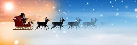 Cloudy sky transition of Santa`s sleigh and reindeer`s Stock Photography