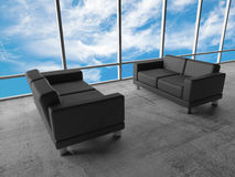 Cloudy sky and two black leather sofas, 3d. Abstract interior, office room. Concrete floor, window with cloudy sky and two black leather sofas, 3d illustration Stock Photo