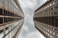 Cloudy sky between two high skyscrapers Stock Photo