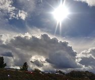 Clouds form for days before the rain storm comes in royalty free stock photography